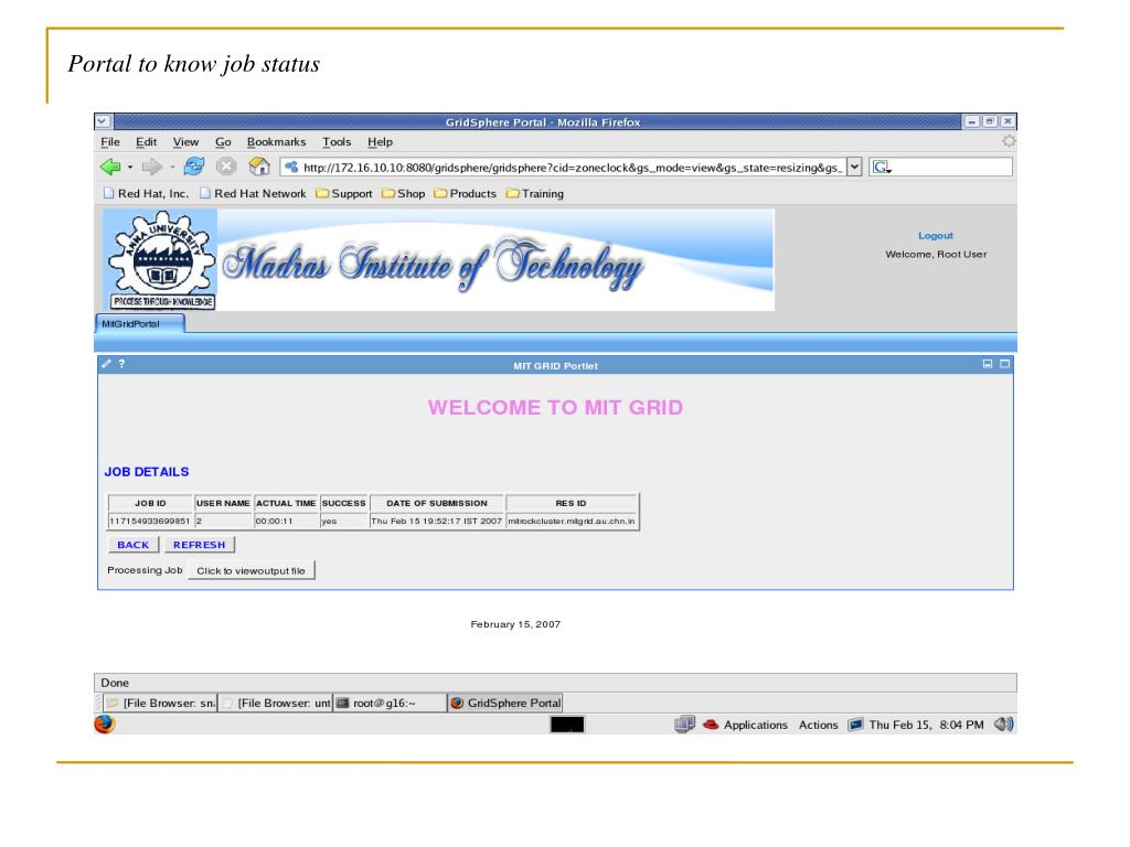 Portal to know job status