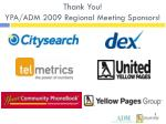 thank you ypa adm 2009 regional meeting sponsors