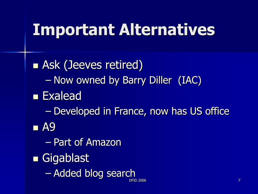 Important Alternatives