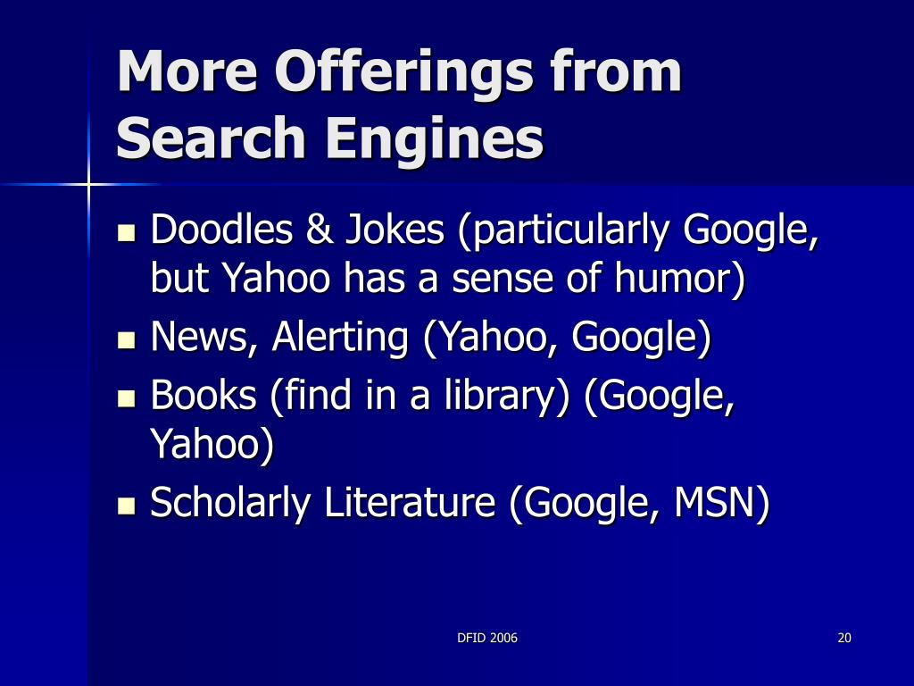 More Offerings from Search Engines