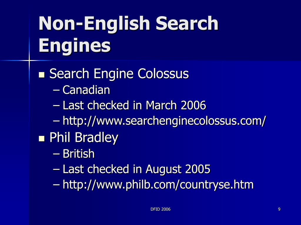 Non-English Search Engines