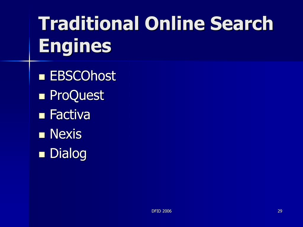 Traditional Online Search Engines
