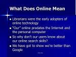 what does online mean