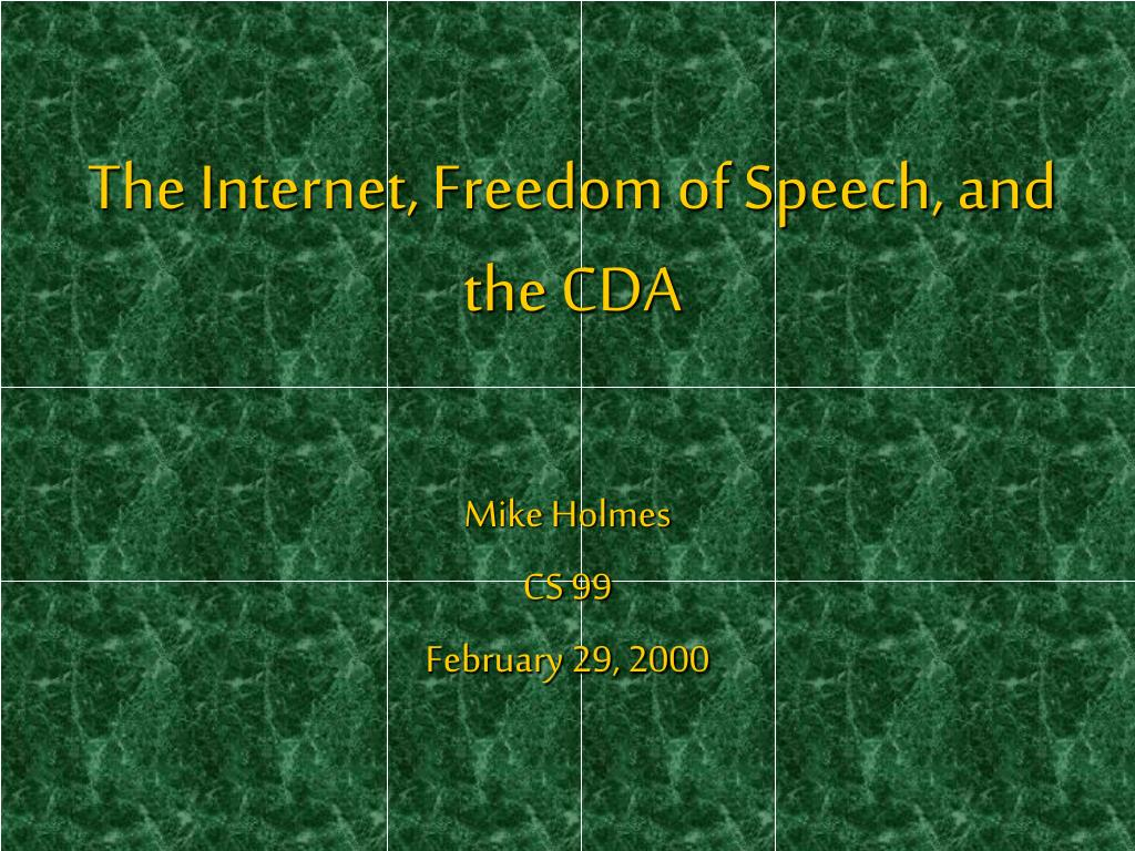 the internet freedom of speech and the cda l.