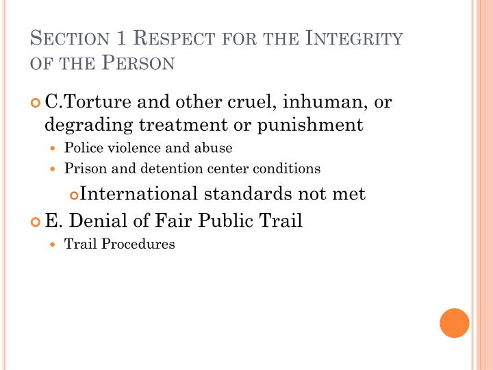 Section 1 respect for the integrity of the person