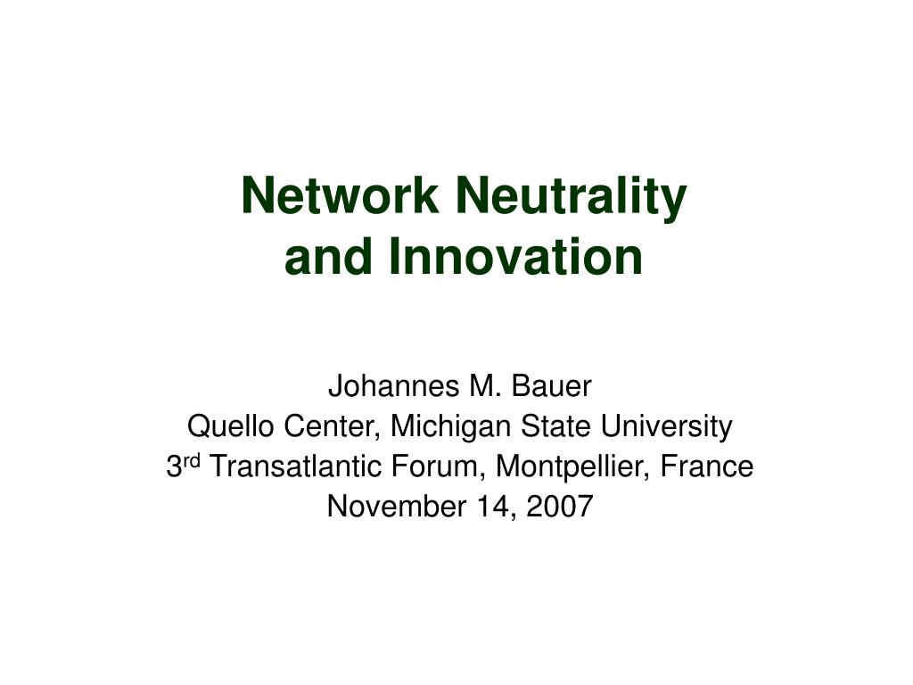 network neutrality and innovation l.