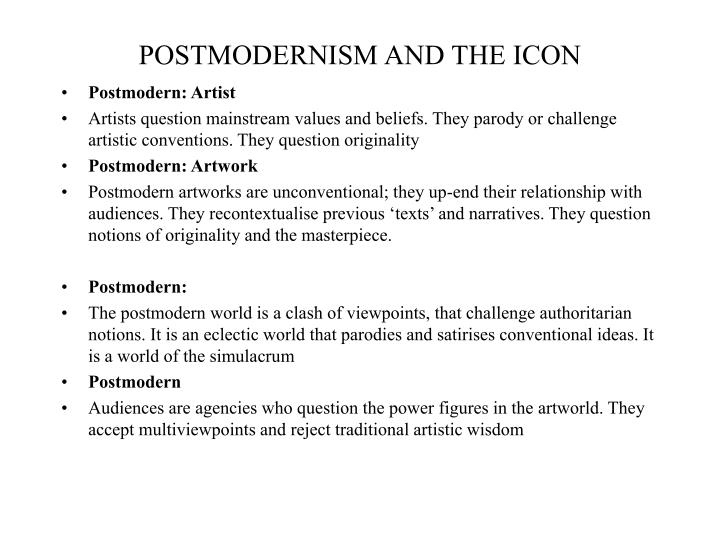 POSTMODERNISM AND THE ICON