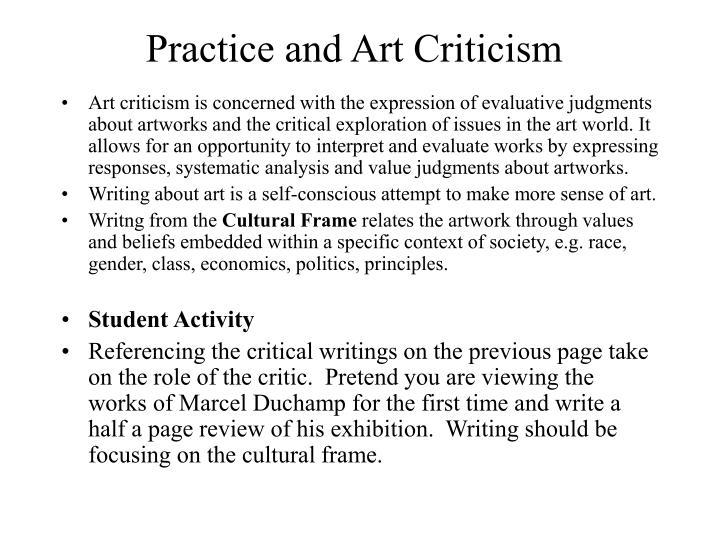 Practice and Art Criticism