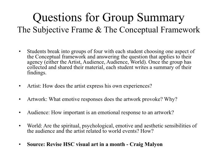 Questions for Group Summary
