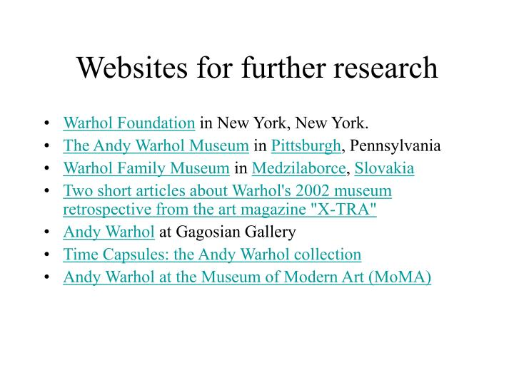 Websites for further research