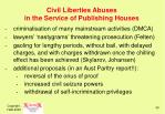 civil liberties abuses in the service of publishing houses