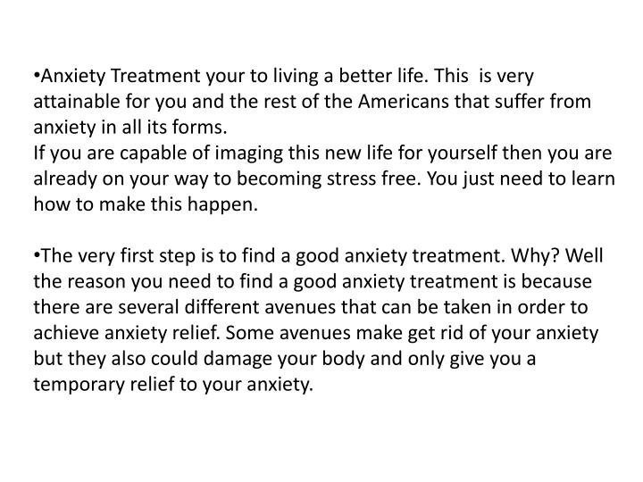 Anxiety Treatment your to living a