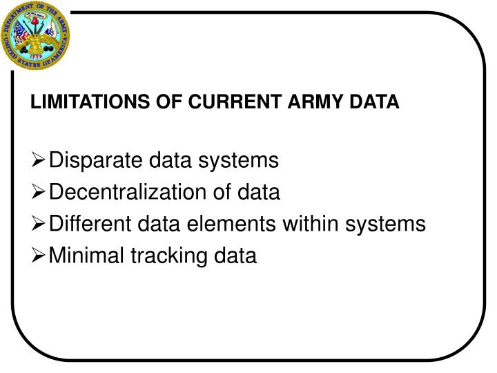 LIMITATIONS OF CURRENT ARMY DATA
