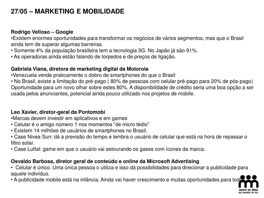 27/05 – MARKETING E MOBILIDADE