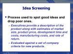 idea screening