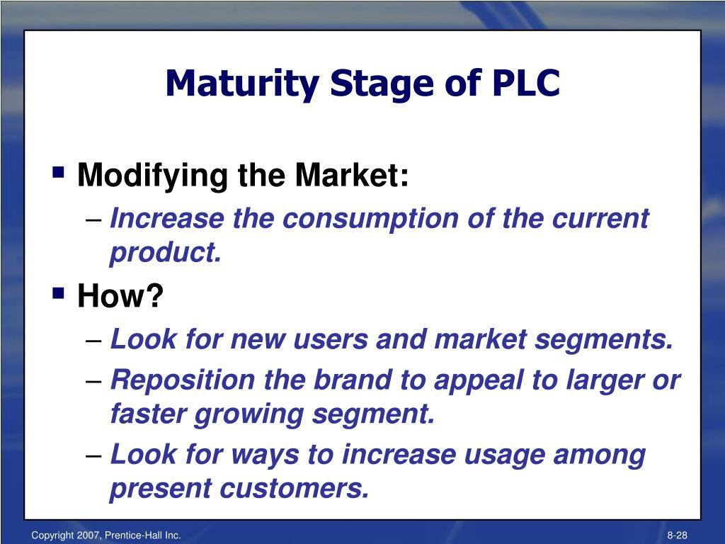 Maturity Stage of PLC