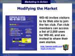 modifying the market