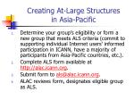 creating at large structures in asia pacific