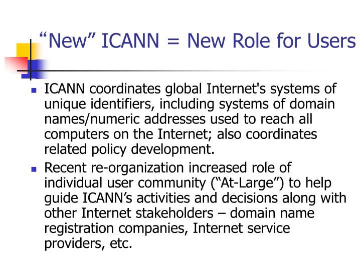 New icann new role for users