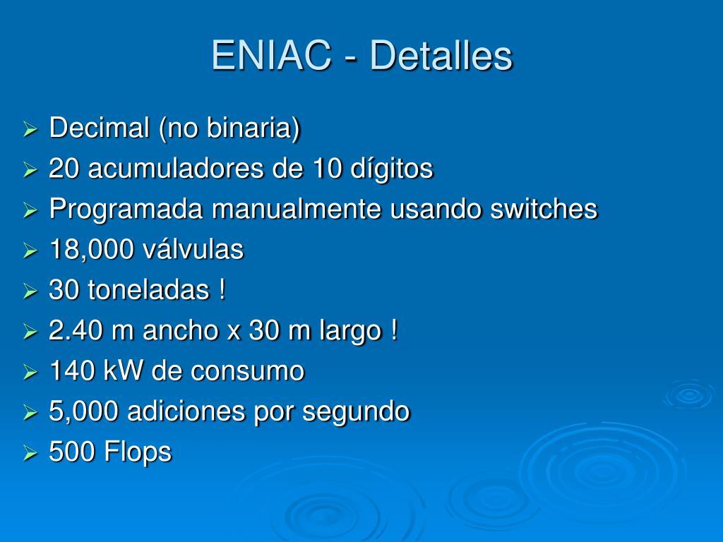ENIAC - Detalles