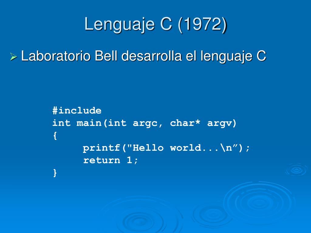 Lenguaje C (1972)