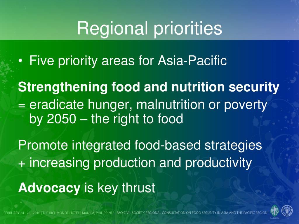 Regional priorities