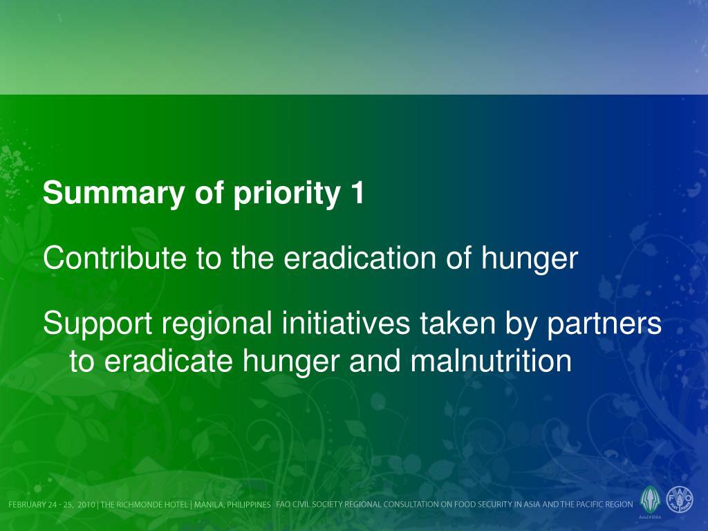 Summary of priority 1