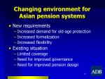 changing environment for asian pension systems