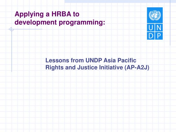 Applying a HRBA to development programming