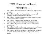 ibfan works on seven principles