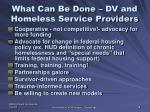 what can be done dv and homeless service providers