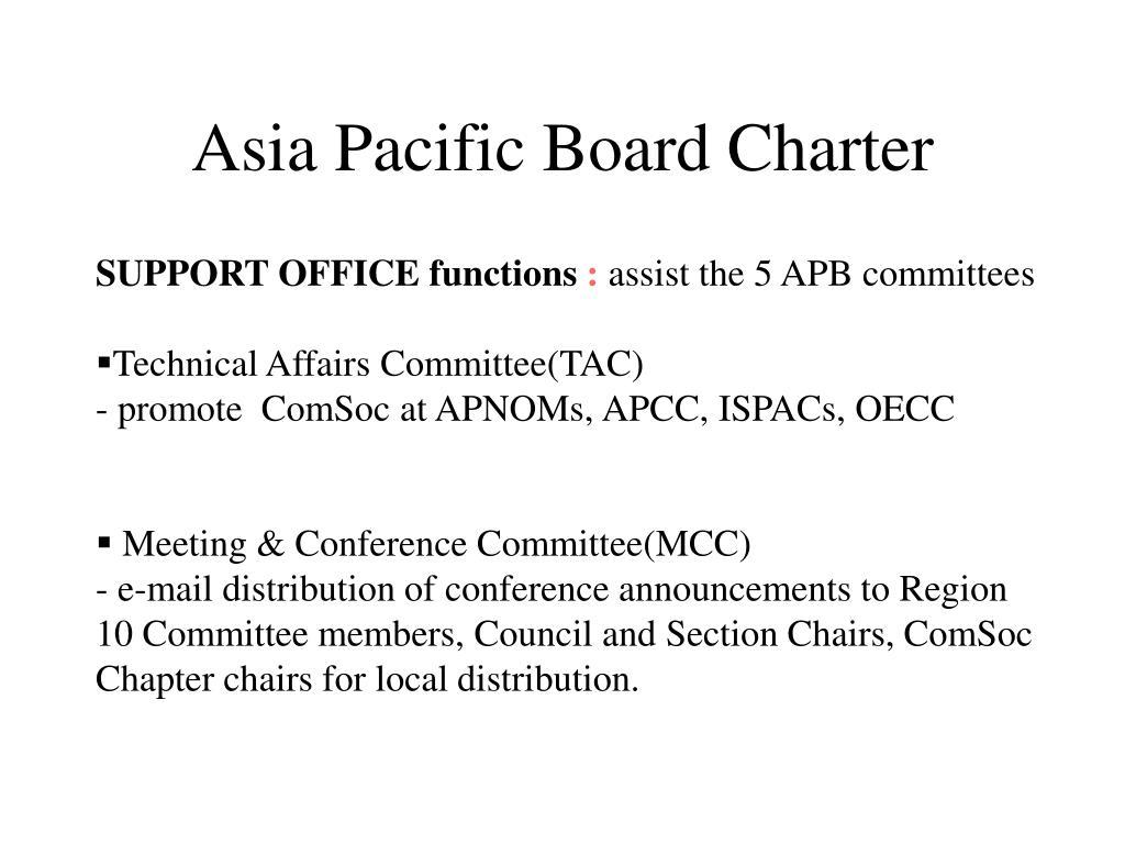Asia Pacific Board Charter