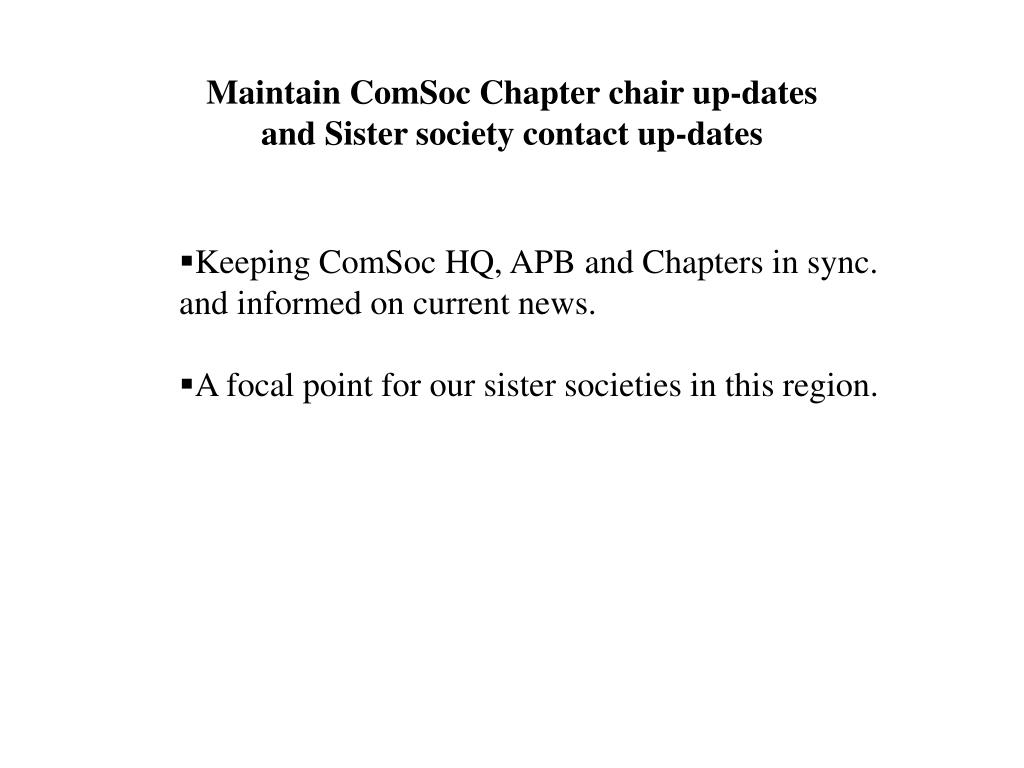 Maintain ComSoc Chapter chair up-dates