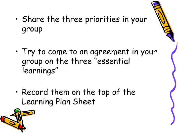 Share the three priorities in your group