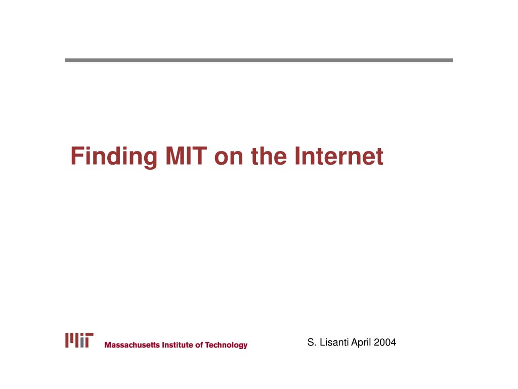 finding mit on the internet l.