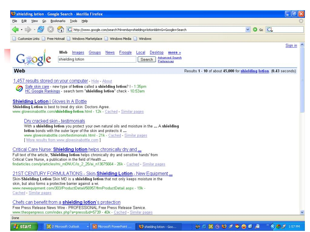 Google Web Search for Shielding Lotion