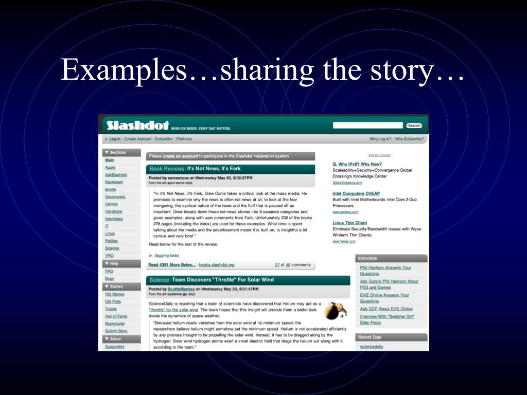 Examples…sharing the story…