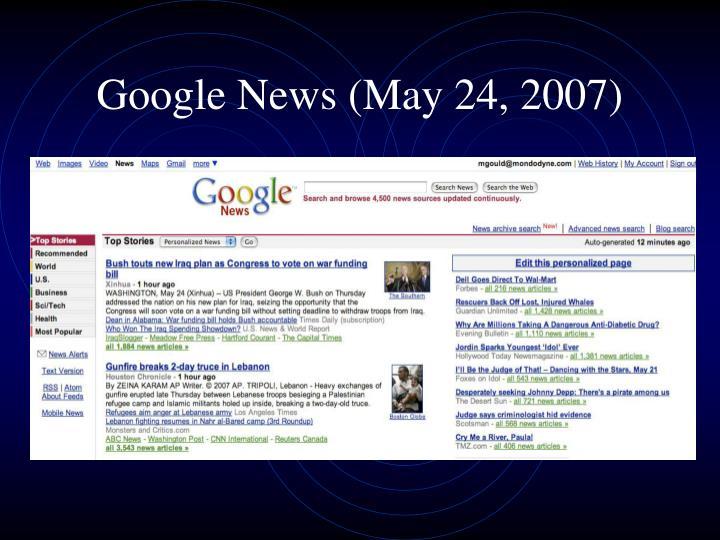 Google news may 24 2007
