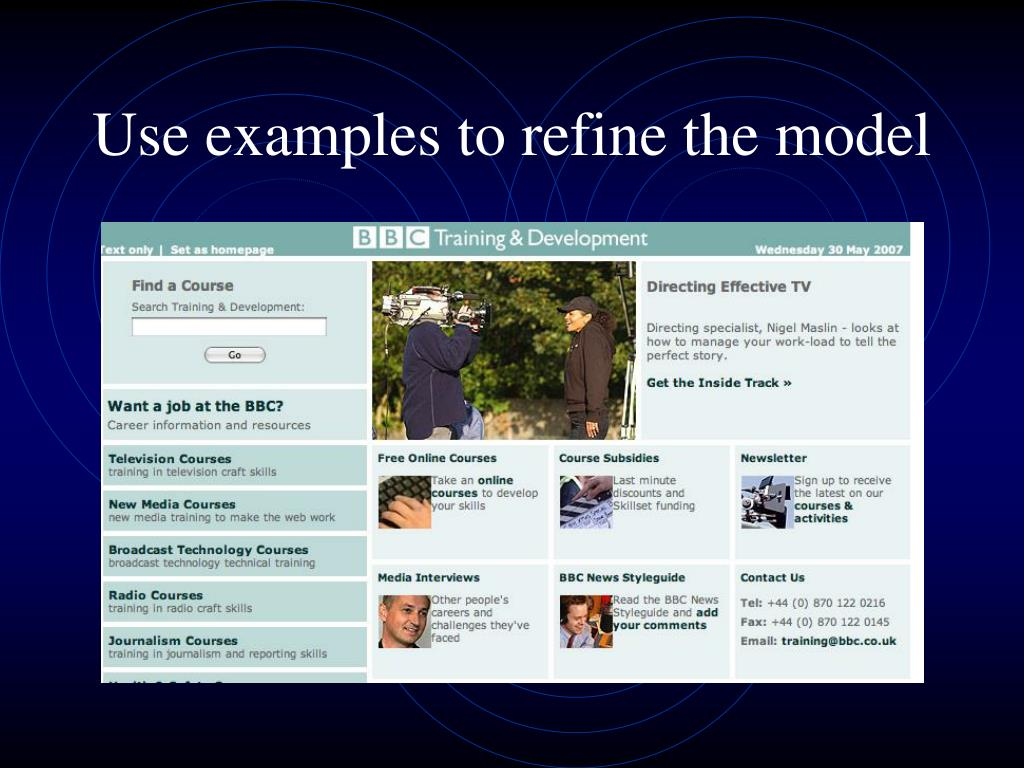 Use examples to refine the model