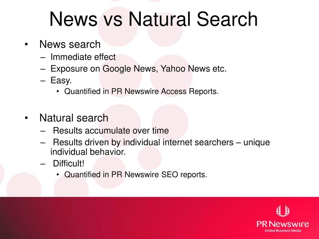 News vs Natural Search