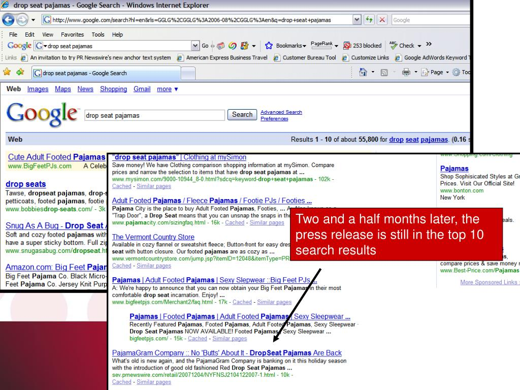 Two and a half months later, the press release is still in the top 10 search results