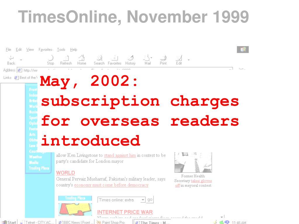 TimesOnline, November 1999