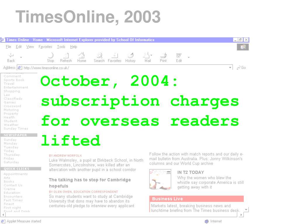 TimesOnline, 2003