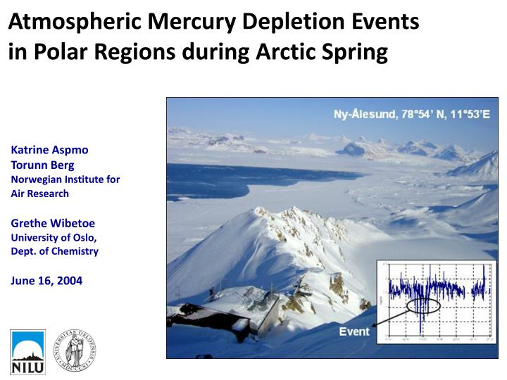 Atmospheric Mercury Depletion Events