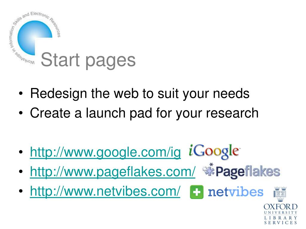 Start pages