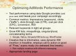 optimizing adwords performance