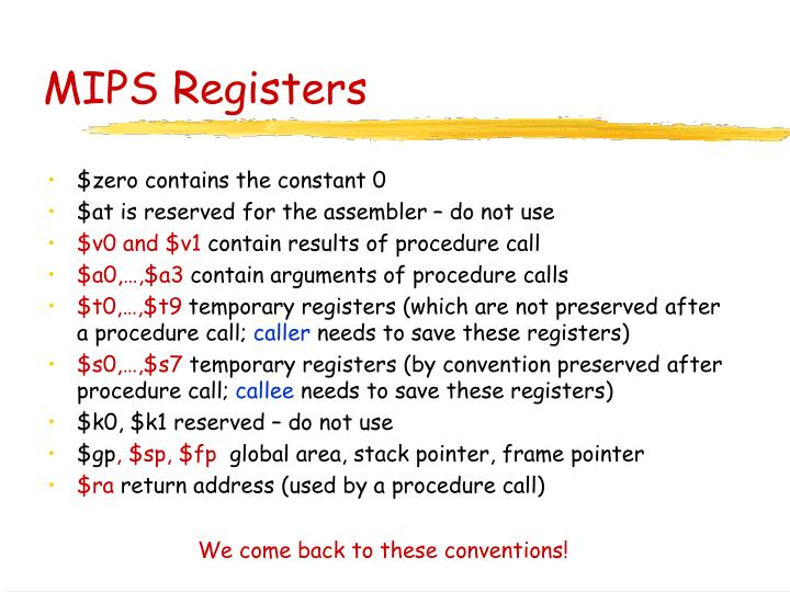 MIPS Registers