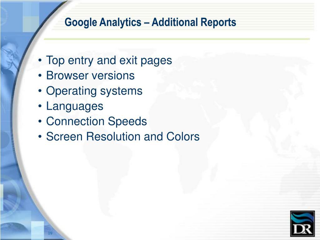 Google Analytics – Additional Reports