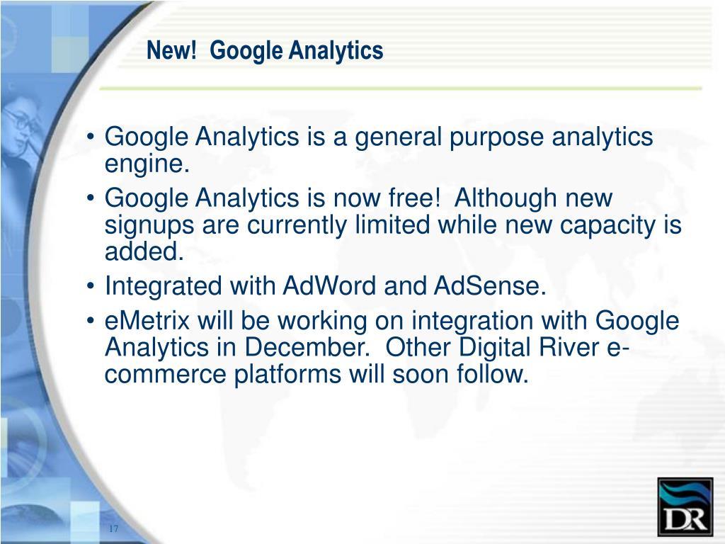 New!  Google Analytics