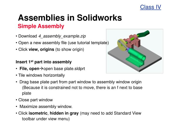 PPT - Assemblies in Solidworks Simple Assembly PowerPoint